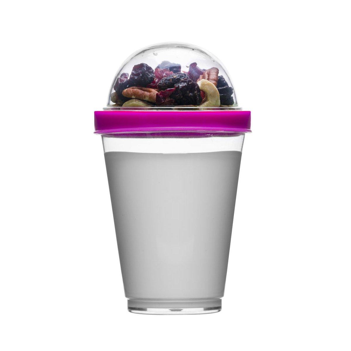 Sagaform Polysthyrene Plastic Yoghurt Cup with Storage, Pink by Sagaform   B00P2V84YG