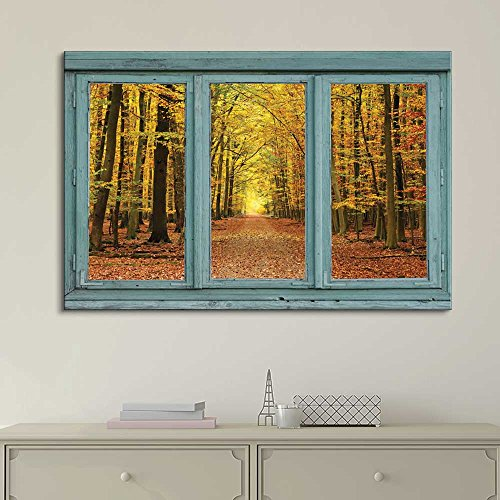 Wall26 - Vintage Teal Window Looking Out Into an Orange Forest During the Fall - Canvas Art Home Decor - 24x36 inches