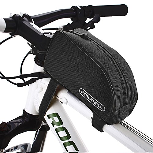 Roswheel® 12654 1L Outdoor Mountain Bicycle Cycling Frame Front Top PVC Tube Bag Bike Pouch (All Black) (Cycling Bag)
