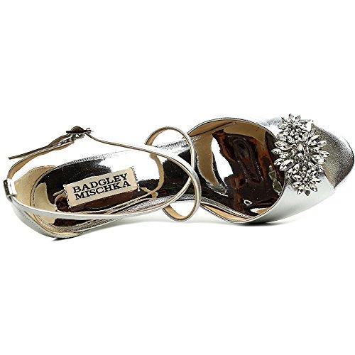 Badgley Mischka Womens Cabina Pelle Open Toe Speciale Piattaforma Per Occasioni Sabbia. Argento