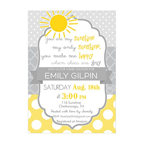 Set of 12 Customizable Personalized Baby Shower Invitations and Envelopes with Sunshine in Yellow and Gray NV116