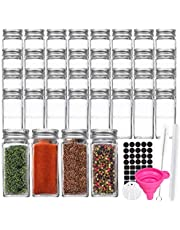 36 Pack 4 oz 120 ml Clear Glass Spice & Salts Jars Bottles, Square Glass Seasoning Jars With Aluminum Silver Metal Caps and Pour/Sift Shaker Lid. 1 Pen,40 Black Labels and 1 Fold able Wide Funnel.