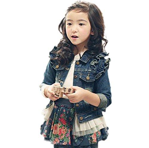 Moon Soul Little Girls' Denim Grenadine Princess Coat Jacket 100