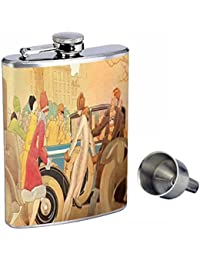 Want 1920s FLAPPERS WITH VINTAGE CAR ART DECO Perfection In Style 8oz Stainless Steel Whiskey Flask with Free Funnel... lowestprice