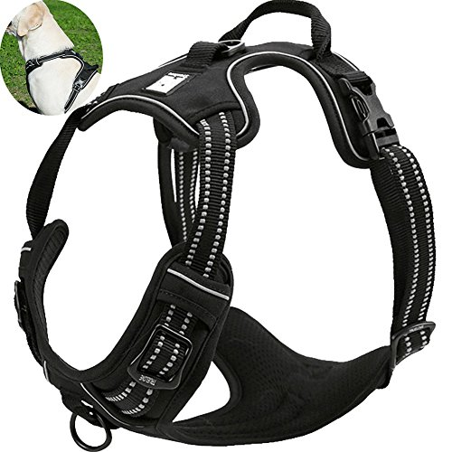OLizee New No Pull Dog Harness Outdoor Adventure Reflective Markings Pet Vest with Handle Adjustable Protective Nylon Walking Pet Harness Variety of Sizes and Colors,Black ()