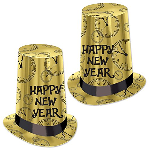 (Club Pack of 25 Gold Happy New Year Super High Midnight Clock Party Hat 10