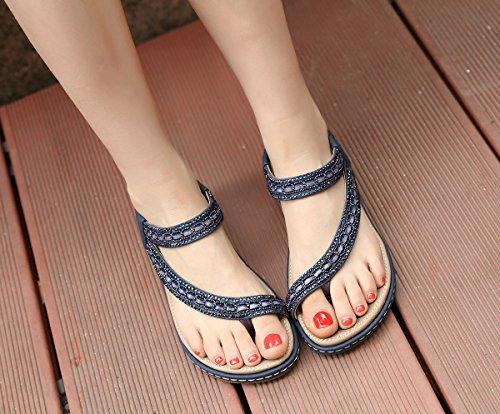 Sandalias Vestir Rhinestone T Yooeen Playa Correas b Elástico 2018 Sandalias Planas Sandalias Zapatos Bohemia de de Mujer Caminar Elegante para Azul Verano Chanclas Cómodo Y8awFnapx