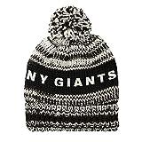 NFL New York Giants Moto Marled Pompster Beanie, One Size, Black/White