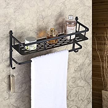 Amazon Com Rozin Oil Rubbed Bronze Bath Towel Holder Shelf Wall Mounted Towel Rack