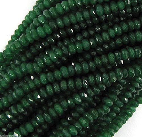 Jade Rondelle Beads - FidgetKute 5X8MM Faceted Emerald Green Jade RONDELLE Abacus Loose Beads Strand 15