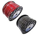 Bullz Audio (2) BPE0.25R + BPE0.25BK 1/0 Gauge 25' Pro Car Power Ground Wire Cable, Black/red