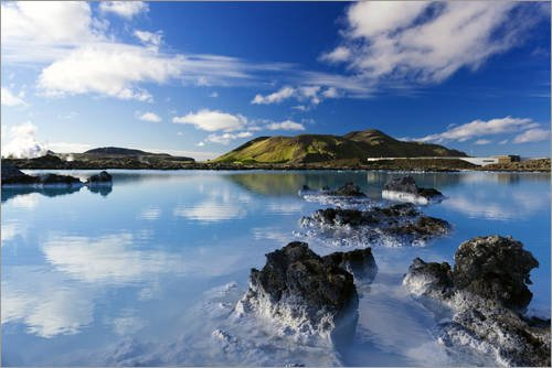 POSTERLOUNGE Acrylic print 30 x 20 cm: Blue Lagoon in Iceland by Dieter Meyrl