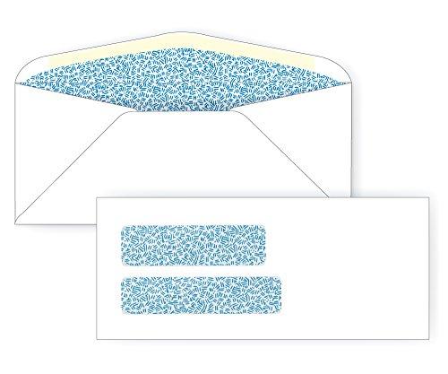 #10 Double Window Envelope - Blue Inside Tint - 24# White (4 1/8 x 9 1/2) - Double Window Series (Pkg of 25)