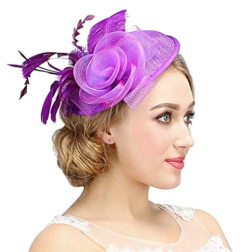 Valdler Womens Feather Mesh Net Sinamay Fascinator Hat with Hair Clip Tea Party Derby Purple ()