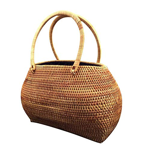 TEEPAO Rattan Bag for Women, Handmade Wicker Woven Purse Round Bamboo Rattan Tote Handbag Picnic Basket Travel Tote for Summer Beach Sea Best Gift for Girlfriend/Mother ()