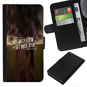 All Phone Most Case / Oferta Especial Cáscara Funda de cuero Monedero Cubierta de proteccion Caso / Wallet Case for HTC DESIRE 816 // GET BUSY LIVIN'