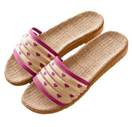 Hoxekle Summer Comfort House Slippers For Couples Open Toe Home Linen Indoor Floor Slip On Slippers Kids Purple 2-3 M US Little Kid