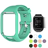 (US) TUSITA WristBand for TomTom Runner 2 3/Spark/Spark 3/Golfer 2/Adventurer, Replacement Silicone Band Strap Accessory (Cyan)