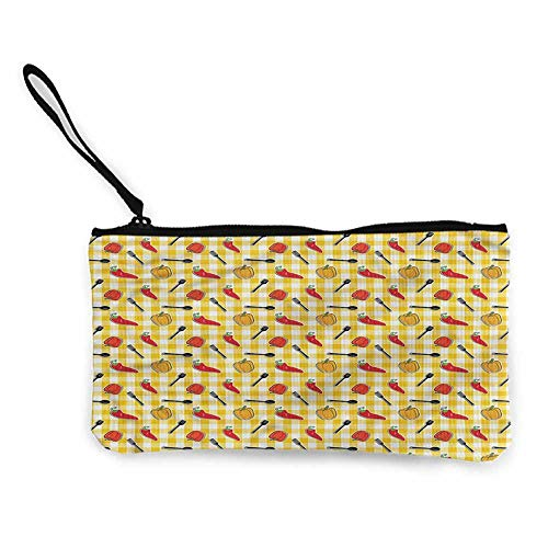 Printed Canvas Purse Food,Plaid Pattern Cooking Pepper W8.5