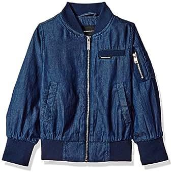 Members Only Girls' Little Cotton Bomber Jacket, Blue Denim, 4