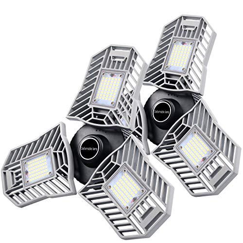 2-Pack Garage Lights 60W LED Garage Lighting – 6000LM 6500K LED 3-Leaf Garage Ceiling Light Fixtures, LED Garage Light…