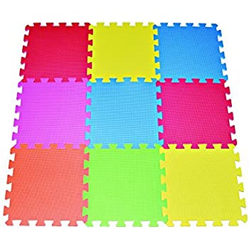 Amazon Com Poco Divo 9 Tile Multi Color Exercise Mat