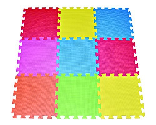3 Floor Puzzle Mat - POCO DIVO 9-tile Multi-color Exercise Mat Solid Foam EVA Playmat Kids Safety Play Floor