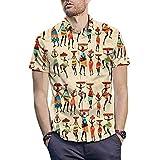 Boy Tee,Men's 3D New Summer Stripe Printed Short-Sleeved Shirt Fashion Blouse Top,Sports Fan Ornaments,Khaki,L