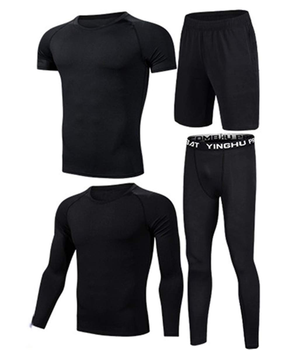 WYQQ Summer Man's Suit Sportswear Four-Piece Fitness Quick-Drying Training Tights(Black,S)