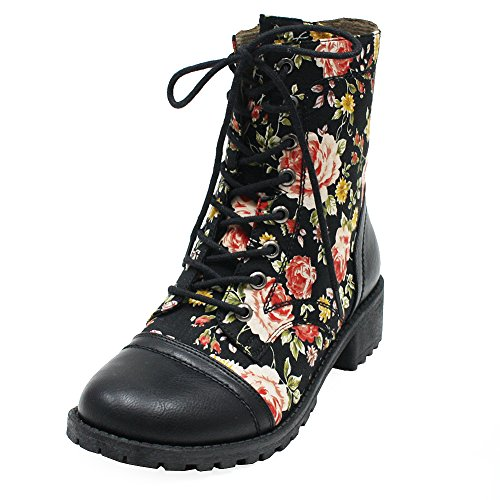 Ankle Boots For Women, Women's Floral Flower Printed Lace-Up [Lightweight] Comfy Chunky Sole Synthetic Leather & Canvas Combat Ankle Boots With Side Zipper, Flower Print Size 11 M [US Size] (Print Leather Synthetic)