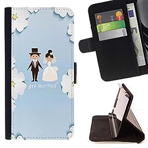 King Case - FOR LG G3 - get merried - Prima caja de la PU billetera de cuero con ranuras para tarjetas, efectivo Compartimiento desmontable y correa para la mu?eca
