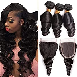 8A Peruvian Loose Wave 3 Bundles with Lace Closure 22″ 24″ 26″ +20″ 8A Grade Peruvian Virgin Human Hair Weave Extensions with Free Part 4×4 Closure Natural Color