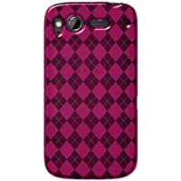 Amzer Luxe Argyle High Gloss TPU Soft Gel Skin Case for HTC Desire S - Hot Pink - 1 Pack- Hot Pink