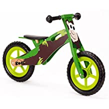 "Kobe Wooden Balance Bike ""Monkey"" Green and Brown"