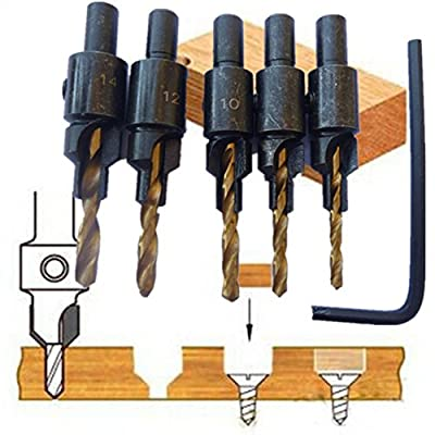 5pcs Countersink Drill Woodworking Bit Set Drilling Pilot Holes For Screw Sizes #6 #8 #10 #12 And #14