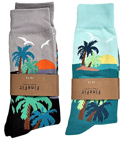 (Fine Fit Mens Novelty Trouser Socks 2 Pair Set - Choose Prints (Sunrise & Sunset) 10-13)