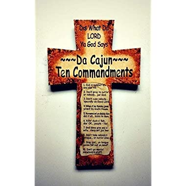WoodSign MarthaFox Cajun 10 Commandments Cross with Paper Finished Streaked MDF