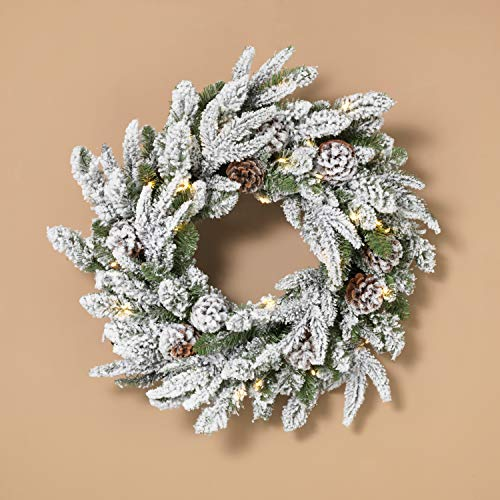 - LED Lighted Flocked Snowy Pine Holiday Wreath with Pinecones - Hanging Christmas Decoration