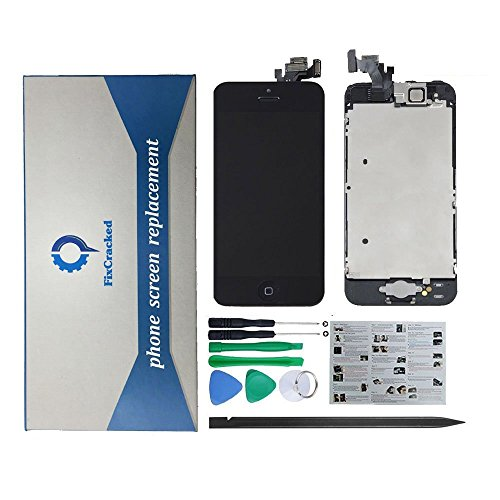 FixCracked iPhone 5 LCD Display Screen Touch Digitizer Full Assembly Replacement with Home Button+Front Facing Camera+Ear Speakers+Repair Tools, Black