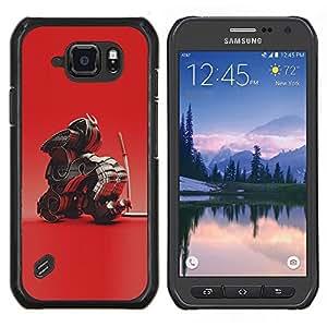 TECHCASE---Cubierta de la caja de protección para la piel dura ** Samsung Galaxy S6 Active G890A ** --Red Samurai Dragón arte japonés
