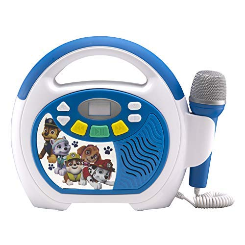 (Paw Patrol Bluetooth Sing Along Portable MP3 Player Real Working Microphone Stores Up To 16 Hours of Music with 1 gb Built In Memory USB Port to Expand Your Content Built In Rechargeable Batteries)