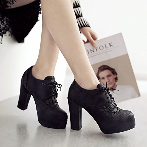 Latasa Womens Platform High Heel Lace-up Shoes Black jW0Zo9p