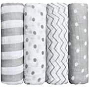 BIack Friday Sale! Muslin Baby Swaddle Blankets  Spots n' Stripes  4 Pack- CuddleBug 47 x 47 inch Large Muslin Swaddles - Soft Cotton Blankets - Baby Shower Gift - Perfect for Nursery Sets - Unisex