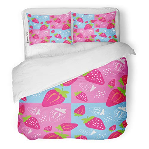 Collection Antioxidant - Semtomn Decor Duvet Cover Set Twin Size Abstract Fruit ¢ Strawberry Agriculture Antioxidant Collection Cross Cut 3 Piece Brushed Microfiber Fabric Print Bedding Set Cover