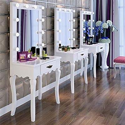 Hollywood Lighted Makeup Vanity Mirror With Table,Bedroom Makeup Vanity  Mirror With Lights,Makeup Vanity Table Set