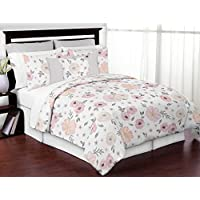Sweet Jojo Designs 3-Piece Blush Pink, Grey and White Shabby Chic Watercolor Floral Girl Full/Queen Kid Childrens Bedding Comforter Set - Rose Flower