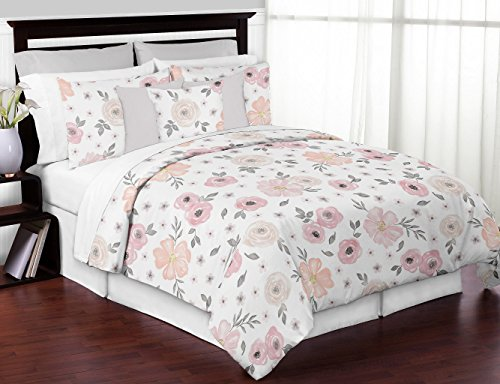 Sweet Jojo Designs 3-Piece Blush Pink, Grey and White Shabby Chic Watercolor Floral Girl Full/Queen Kid Childrens Bedding Comforter Set - Rose Flower (B074MBS5Q2) -