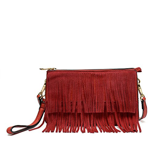 Triple Compartments Double Layer Faux Suede Fringe Clutch Crossbody Bag With Wristlet Red