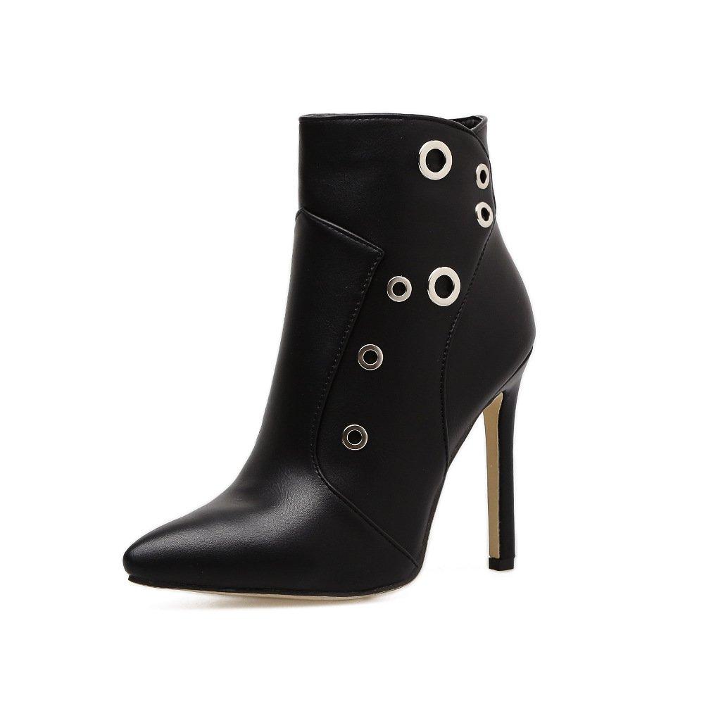 QIN&X Frauen Spitze Zehe Stiletto Stiletto Stiletto High Heels kurze Ankle Stiefel Plateauschuhe schwarz a5a1c8