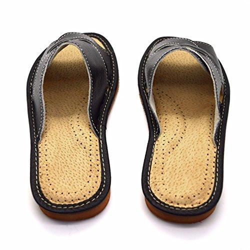 mujer tamaños Sandalias ecológica Zapatillas los Mulas sin piel Negro mujer de Zapatos de para cordones Todos Bq6fw75
